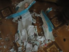Statue of the Virgin Mary smashed by the government-sent mob